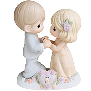 Precious Moments,  I Fall In Love With You More Each Day – 5th Anniversary, Bisque Porcelain Figurine, 730006