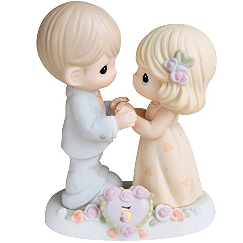 (Precious Moments,  I Fall In Love With You More Each Day - 5th Anniversary, Bisque Porcelain Figurine, 730006)