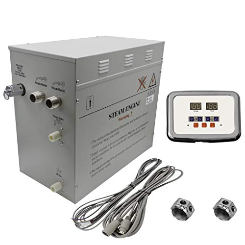 Superior 12kW Self-Draining Steam Bath Generator with Waterproof Programmable Controls and 2 Chrome Steam Outlets