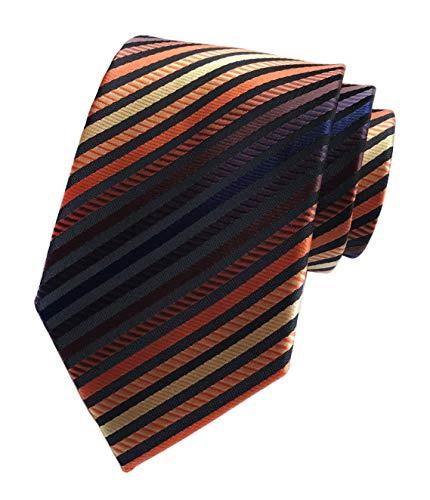 - Secdtie Men's Narrow Stripe Pattern Tie Orange Navy Red Bronze Necktie LUD49