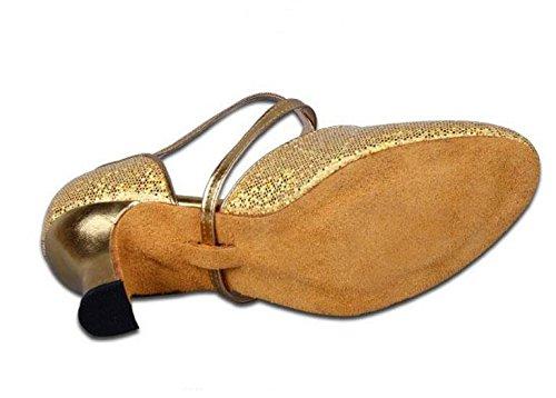 missfiona Womens Soft-Soled Glittering Latin Ballroom Dance Shoes With Closed Toe Gold NEyfA