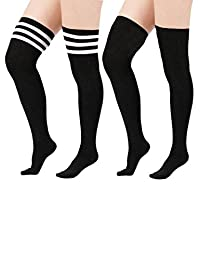 American Trends Women's 3 Stripe Over the Knee Thigh High Plus Size Cotton Socks