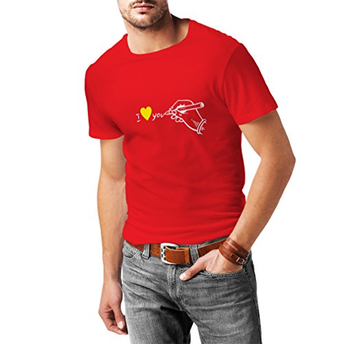 lepni.me T Shirts For Men I Love You ST. Valentines Day Gifts, Outfits (XX-Large Red White)