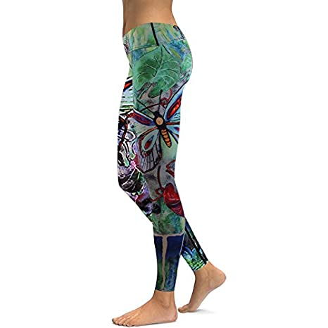 e71ee9984f5 Image Unavailable. Image not available for. Color  Culturemart Women s Yoga  Pants Green Butterfly Print ...