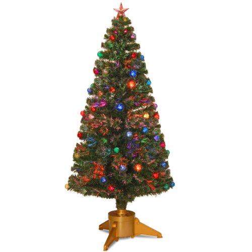 National Tree 72 Inch Fiber Optic Ornament Fireworks Tree with Gold Top Star and Multicolored Lights (SZOX7-100L-72)