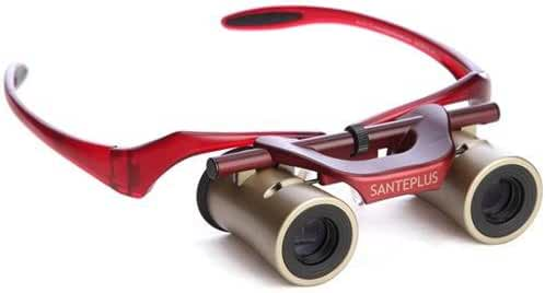 KabukiGlasses 4x13mm Hands-Free Autofocus Binocular with Ultra Bright Lens, Gold/Red