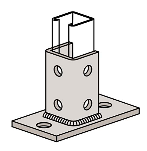 Qty 10, Rectangular Plate Eight-Hole Post Base Single Channel Tall Clevis Import, Electro Galvanized