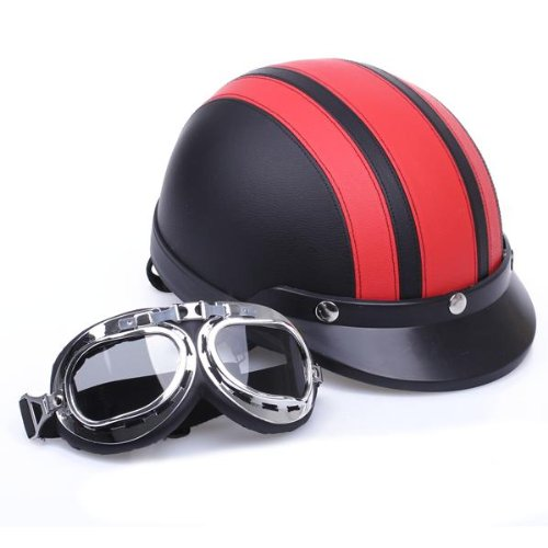 Zimo® Motorrad Scooter Kunstleder überzogen Helm Halbhelm Schutzhelm Motorradhelm Sturzhelm Kampfhelm + Schutzbrillen rot schwarz