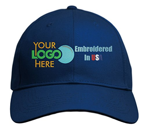 Custom Hat, Embroidered. Your Own Logo. Adjustable Back. Curved Bill (Navy)