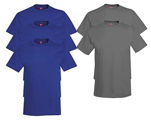 Hanes Mens Tagless Comfortsoft Crewneck T-shirt (Pack of 5) 3 Deep Royal / 2 Smoke Gray