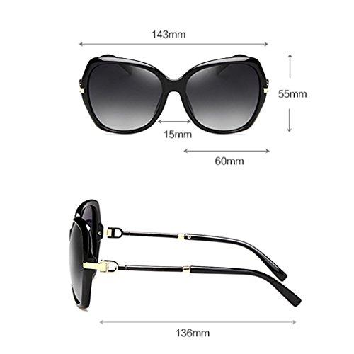Protección UV400 Vino Mujer Retro Estilo de Gafas 60mm Clásico de color polarizadas Floral Caminante con Rojo Color sol qvPBv6