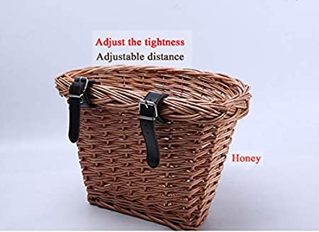 debieborahtoys Wicker D-Shaped Bike Basket Portable Hand-Woven Shopping Basket Bicycle Front Handlebar Storage Basket with Leather Straps