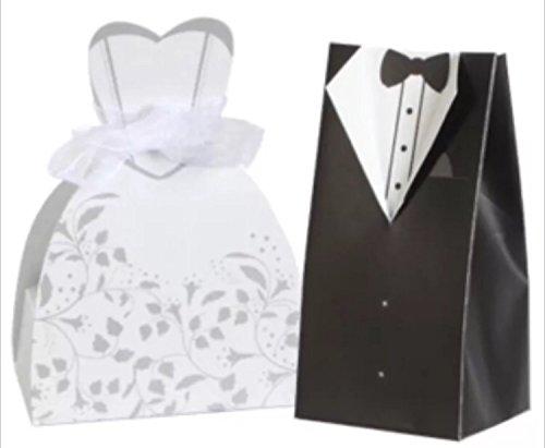 20 Bride & Groom Wedding Box Favor