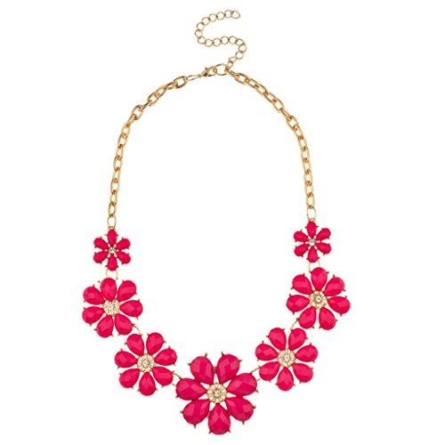 (Lux Accessories Pink Pave Flower Bib Statement Floral Chain)