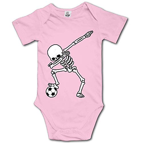 Ting room Dabbing Skeleton Soccer Baby Short-Sleeve Onesies Bodysuit Baby Outfits Pink-6 Months