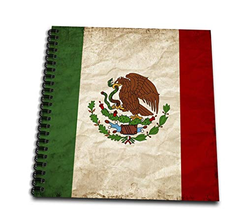 3dRose Mexican Flag Golden Eagle Old Look Trendy Work Drawing Book, 4 x 4