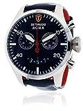 DETOMASO Roma Men's Watch Chronograph Analog Quartz Blue Leather Strap Blue Dial DT1079-C