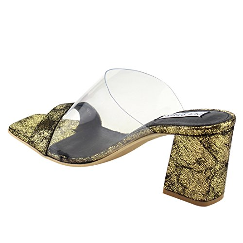 CAPE ROBBIN FG27 Womens Slip On Clear Strap Block Heel Mule Sandals, Color:GOLD, Size:6