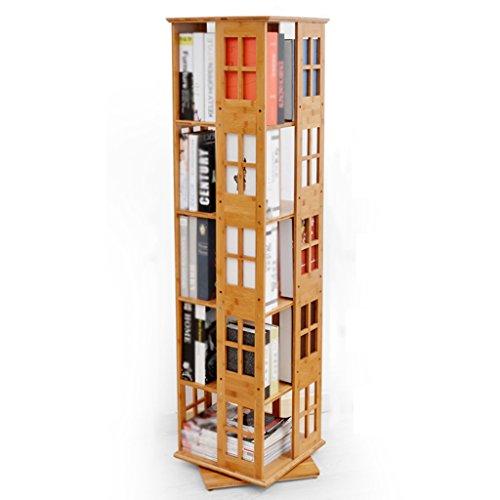 Bookshelf Bookcase Modern Minimalist Rotate 360 Degrees Solid Wood Bookcase Floor Type Shelf Creative Display Storage Furniture (Size : 5tier) ()