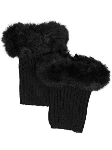 M-252-06 Fur Trim Boot Cuff - Black Ladies Sparkle Cuff Glove