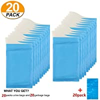 [20 Pack] Disposable Urine Bags Portable Collection Pee Bag for Outdoor Camping Travel Urinal Toilet Traffic Jam Emergency Car Vomit Bag for Men Women Kids Children Patient Pregnant Brief Relief (20)
