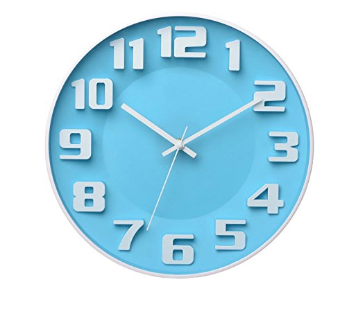 Yingli Modern Colorful Wall Clock 3D Numerals And Silent Sweep Quiet Movement Non Ticking Wall Clock  14   Blue