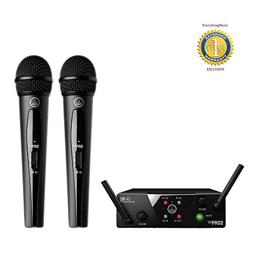 AKG WMS40 Mini2 Dual Wireless Vocal Set Wireless Microphone System with 1 Year Free Extended Warranty by AKG