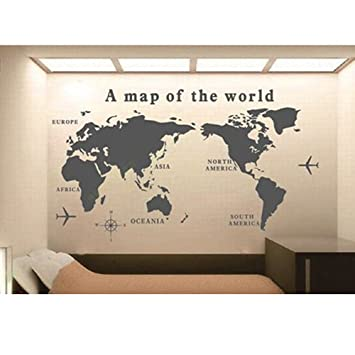 Wall art world map pattern removable wall sticker wall poster wall art world map pattern removable wall sticker wall poster gumiabroncs Choice Image