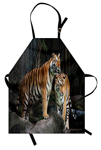 Ambesonne Animal Apron, Tiger Couple in the Jungle on Big Rocks Image Wild Cats in Nature Image Print, Unisex Kitchen Bib Apron with Adjustable Neck for Cooking Baking Gardening, Grey (Ginger Cat Costumes)