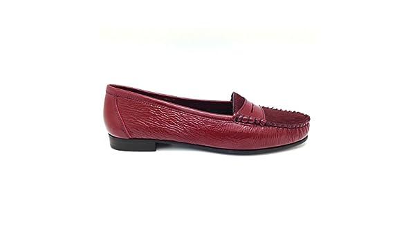 Castellano® 1920 Madrid - Mocasín en charol carmin y pelo carmin para mujer: Amazon.es: Zapatos y complementos