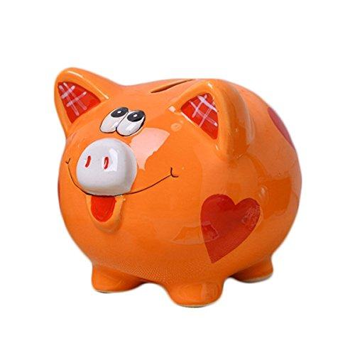 Romantiko Girls Pig Piggy Bank Blue Baby Nursery Decor (orange2) ()