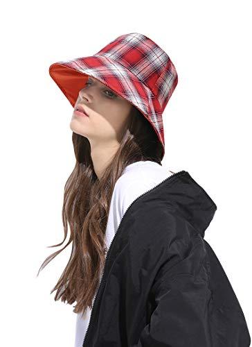 - DOCILA Womens Summer Cotton Bucket Hat Packable Red Plaid Tartan Travel Sun Cap Rerto Fisherman Hats (OrangeRed)