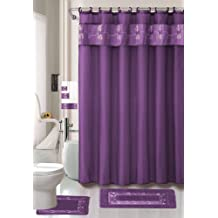 Beverly Purple 18-piece Bathroom Set: 2-rugs/mats, 1-fabric Shower Curtain, 12-fabric Covered Rings, 3-pc. Decorative Towel Set