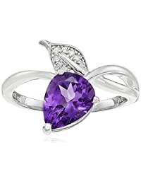Sterling Silver Leaf Gemstone and Diamond Ring