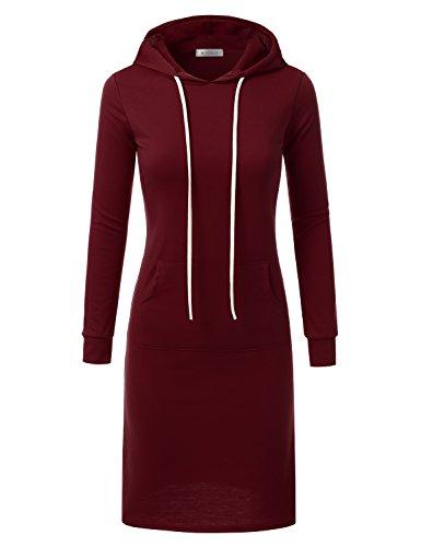 Doublju Hoodie Midi Dress for Women with Plus Size