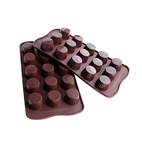 Webake Candy Molds Silicone Chocolate Molds, Baking Mold for Jello, Keto Fat Bomb and Peanut Butter Cup, Pack of 2