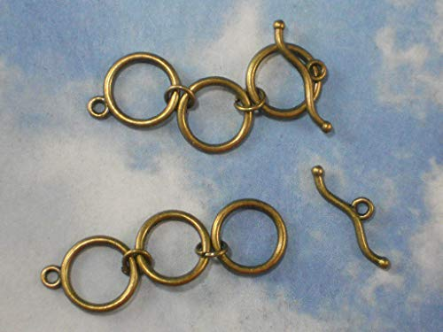 Pendant Jewelry Making 5 Sets 3 Ring Extender Toggle & Clasps Bronze Tone Finish Closures