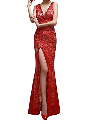 ALfany Elegant Women's Lace Floor Length Mermaid Formal Prom Dresses Evening Gowns ,Red ,US16