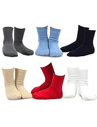 TeeHee Kids Boys Basic Cotton Crew Socks 6 Pair Pack