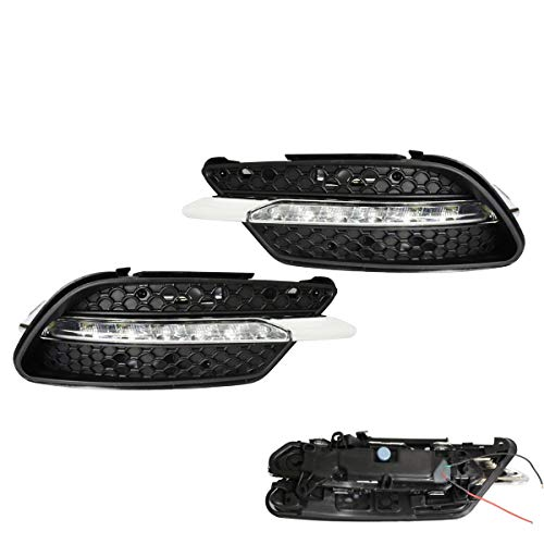iJDMTOY Xenon White LED Daytime Running Lights For 08-10 Mercedes Benz W204 C-Class C300 C350 w/Sports Package Bumper, OEM Style DRL Assy Powered by 7 Pieces High Power LED Lights Each Lamp