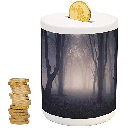 Farm House Decor,Ceramic Child Bank,Printed Ceramic Coin Bank Money Box for Cash Saving,Path Through Dark Deep in Forest with Fog Halloween Creepy Twisted Branches -