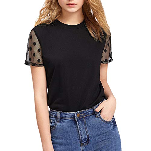 Willow S Womens Sexy Comfy Casual Polka Dot Mesh Panel Short Sleeve Tee Pullover Slim T-Shirt Blouse Tops Black