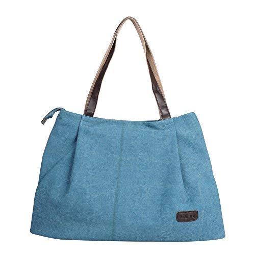 Lady Beach Bag Large Canvas Handbag Tote Bag Holiday Bag with Zipper Shopping Bag Purse Travel Shoulder Bag with Reinforced Shoulder Strap for Home School Office Blue