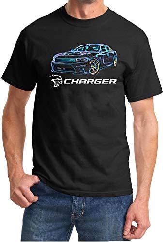 Dodge SRT Hellcat Charger Neon Lights Design Tshirt 2XL Blue