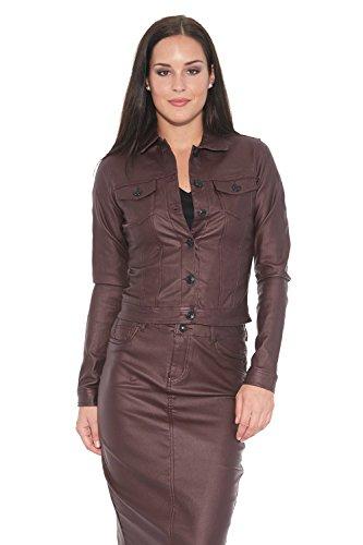 Coated Twill Jacket (Suko Jeans Stretch Twill Jacket For Women Wax Coated 96380ST Wine Medium)