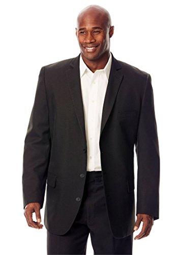 Kings' Court Men's Big & Tall Easy Movement Three-Button Jacket, Black Big-62