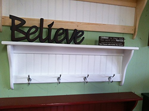 36 Inch White Coat Rack Shelf With Satin Chrome Hooks Wall Hanging Shelf - Brushed Custom Rack Shelf