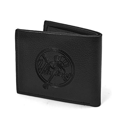 (Fkion Baseball Team Logo Embossed Black Leather Slim Bifold Clip Wallet for Men)
