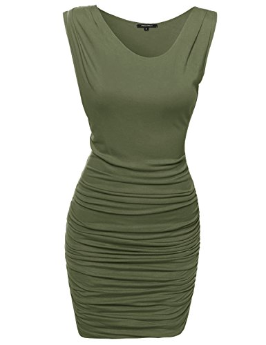 Awdsd0624 Party Awesome21 Club Dress Olive with Mini Women's Sleeveless Side Tuck qqERxzCw