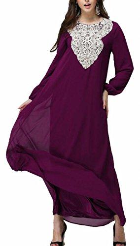 Lace Muslim Long Dress Purple Women Stitching Crochet Long Sleeve s Jaycargogo PFqfw4n